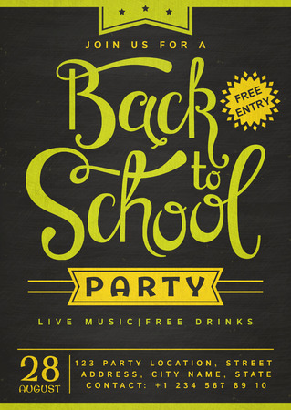 Back to School party invitation. Stylish with hand lettering header.