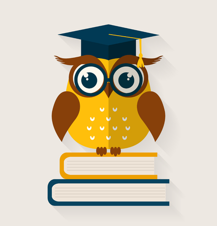 erudition: Wise owl with books and graduate cap. Flat design. Vector illustration.
