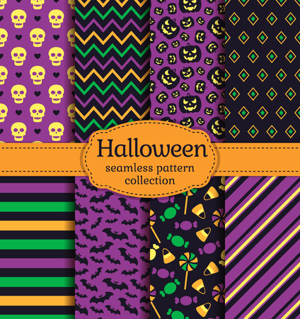 seamless patterns: Happy Halloween! Set of seamless backgrounds with bats, pumpkins, skulls, candies and abstract geometric patterns. Vector collection in black, yellow, orange, green and purple colors.