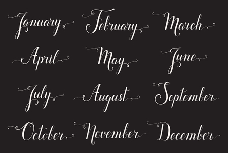 months: Handwritten names of months. Elegant calligraphic words isolated on black background. Lettering for calendar, diary or organizer. Illustration