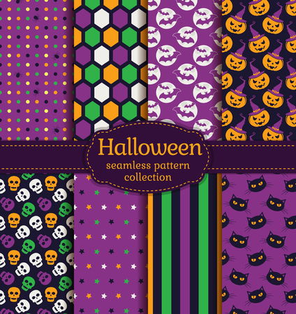 gloomy: Happy Halloween! Set of seamless backgrounds with pumpkins, skulls, bats, gloomy cats and abstract geometric patterns. Vector collection in purple, black, green, orange and white colors.