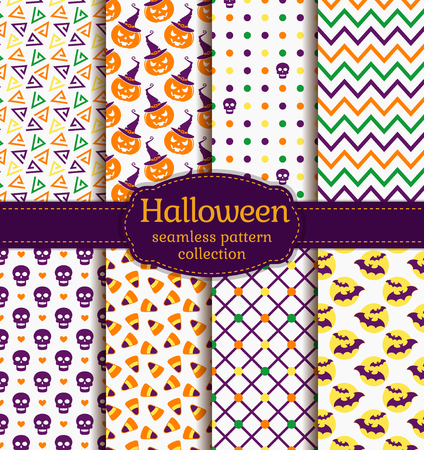 yellow corn: Happy Halloween! Set of seamless backgrounds with pumpkins, skulls, candy corn, bats and abstract geometric patterns. Vector collection in white, purple, orange, yellow and green colors.