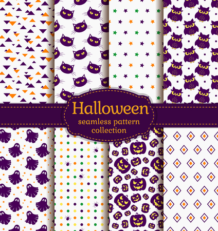 gloomy: Happy Halloween! Set of seamless backgrounds with pumpkins, gloomy owl, black cats, cute ghost, spiders and abstract geometric patterns. Vector collection in white, purple, orange and green colors.
