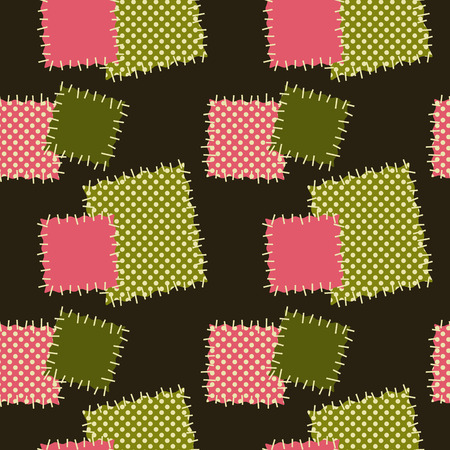 uneven edge: Seamless background with patches. Vector pattern in green and pink colors.