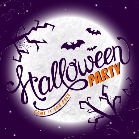 dare: Halloween party invitation. Come if you dare. Lettering card with gloomy scene. Vector banner. Illustration