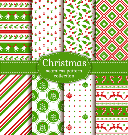 digital paper: Merry Christmas and Happy New Year! Set of cute seamless backgrounds with holiday symbols: candy cane, christmas tree, deer, holly, christmas ball, bells and abstract patterns. Vector collection. Illustration