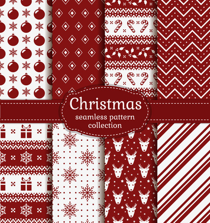 digital paper: Merry Christmas and Happy New Year! Set of red and white seamless backgrounds with holiday symbols: candy cane, deer, holly, snowflakes, christmas ball, gift and abstract patterns. Vector collection. Illustration