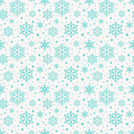 winter colors: Seamless pattern with snowflakes. Winter background in white and delicate blue colors. Vector illustration.
