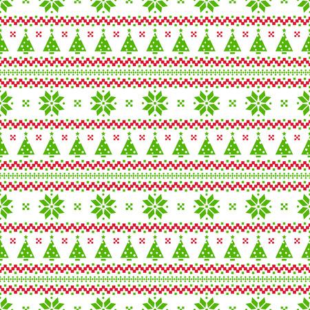 メリー クリスマスと新年あけましておめでとうございます!クリスマス ツリーとニットのシームレスな背景。白、緑と赤の色のノルウェーのパターン。ベクトルの図。
