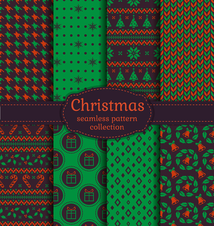 christmas candy: Merry Christmas and Happy New Year! Seamless backgrounds set with bells, snowflakes, christmas tree, holly, candy cane, gifts, knitting, Norwegian ornament and abstract patterns. Vector collection. Illustration