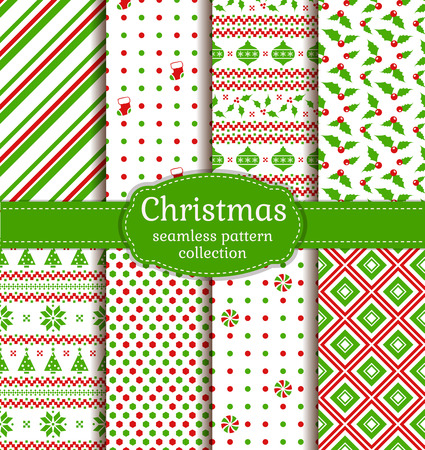 Merry Christmas and Happy New Year! Set of colorful seamless backgrounds with christmas balls, holly, socks, christmas tree, candy, Norwegian ornament and abstract patterns. Vector collection. Ilustração
