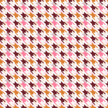 houndstooth: Houndstooth seamless pattern. Vector background in white, pink and brown colors.