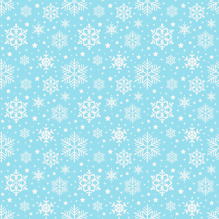 Seamless pattern with snowflakes. Winter background in delicate blue and white colors. Vector illustration.