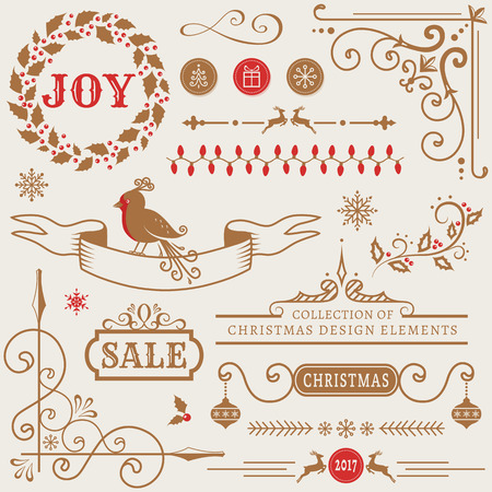 dividing: Set of Christmas and New Year decorations isolated on white background. Collection of vector elements for greeting card, party invitations, sale label, page and web decor or other holiday design.