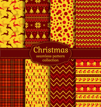 dot pattern: Merry Christmas and Happy New Year! Seamless backgrounds set with xmas tree, deer, holly, christmas light, bells, knitting, Norwegian ornament, checkered and abstract patterns. Vector collection.