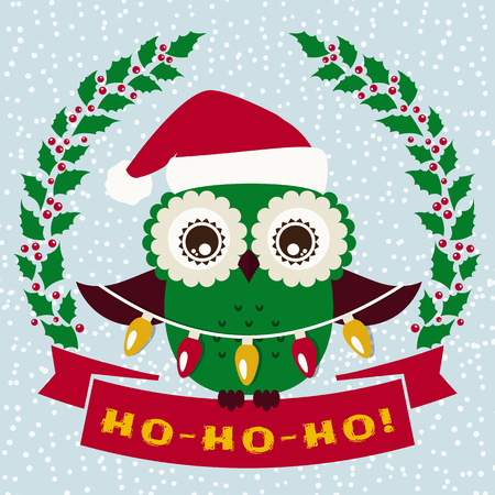 bird illustration: Ho-Ho-Ho! Christmas greeting card with cute owl in Santa hat. Vector illustration. Illustration