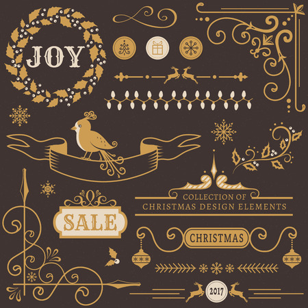dividing line: Set of Christmas and New Year decorations. Collection of vector elements for greeting card, party invitations, sale label, page and web decor or other holiday design. Illustration