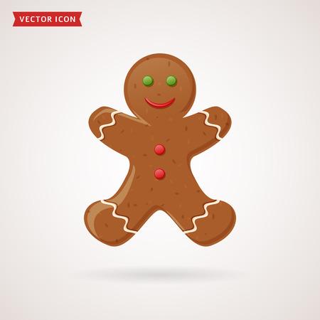 Gingerbread man icon. Christmas traditional symbol. Vector illustration.