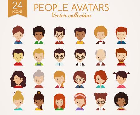 Reeks leuke avatars. Mannelijke en vrouwelijke gezichten. Diverse soorten mensen met verschillende nationaliteiten, leeftijden, kleding en kapsels. Vector iconen op een witte achtergrond.