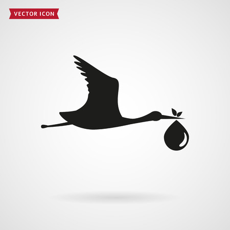 brings: The stork brings the baby. Icon isolated on white background. Child birth concept. Vector illustration. Illustration