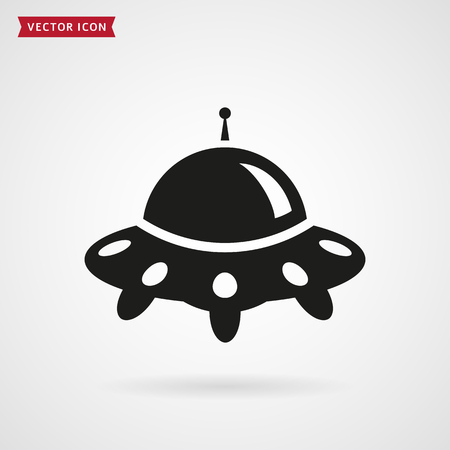 unidentified flying object: UFO ship icon isolated on white background. Space aliens plate. Vector illustration.
