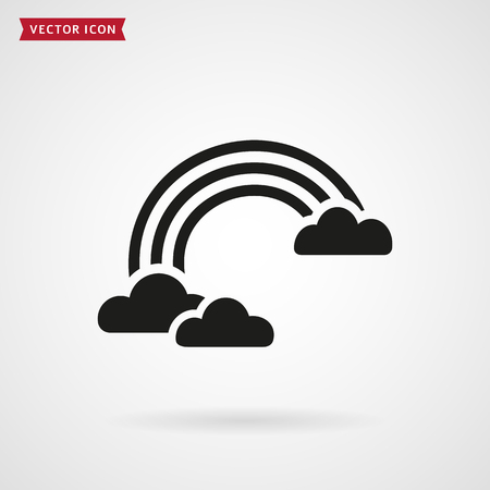 white clouds: Rainbow and clouds. Icon isolated on white background. Vector illustration.