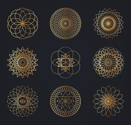 Sacred geometry symbols. Set of vector design elements isolated on black background.