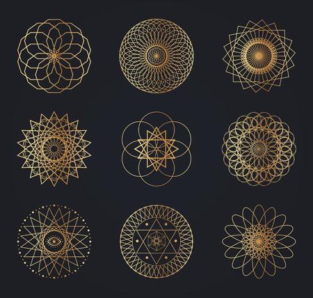Sacred geometry symbols. Set of vector design elements isolated on black background.