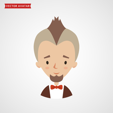 iroquois: Face of bearded man with mohawk. Vector avatar for fashionable young man. Cute flat icon isolated on white background. Illustration
