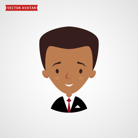 Face of black man. Cute avatar. Businessman in formal suit. Vector icon isolated on white background.