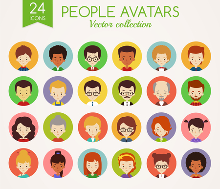 people  male: Set of cute avatars in colorful circles. Male and Female faces. Diverse type of people with different nationalities, ages, clothing and hair styles. Collection of vector icons isolated on white background.