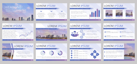 commercial real estate: Set of 12 templates for business presentation. Vector backgrounds with infographic elements and blurred city landscapes.