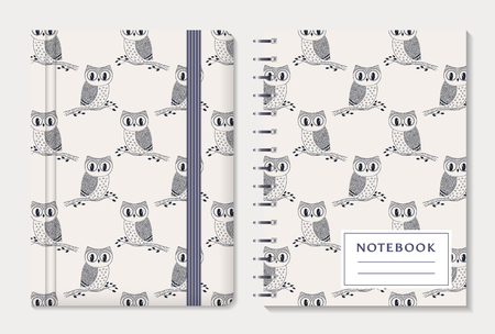 moleskin: Notebook cover design. Notepad with elastic band and spiral pad. Cute collection with hand drawn owls. Vector set.
