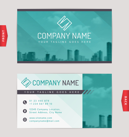 visit: Business card design with blurred cityscape background. Vector template.