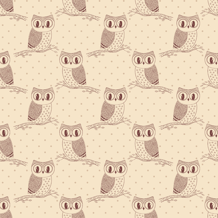 beige background: Seamless pattern with cute hand drawn owls and polka dot.