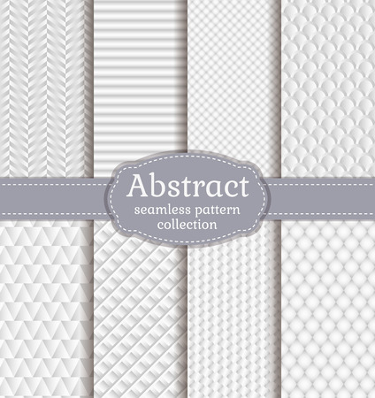 abstract seamless: Set of white seamless patterns. Abstract geometric textures. Vector collection.
