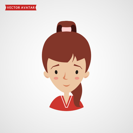 Face of a cute girl with ponytail hairstyle. Vector avatar. Flat icon isolated on white background. Illustration