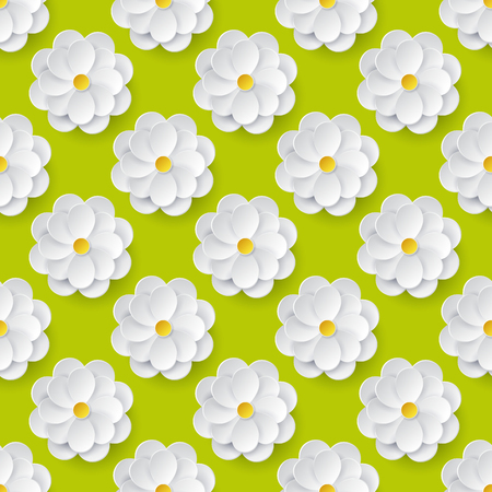 green paper: Seamless pattern with paper flowers. Floral background in green, white and yellow colors. Vector illustration.