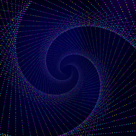 curve creative: Abstract background. Dark blue wallpaper with spiral made from luminous colorful points. Vector illustration.