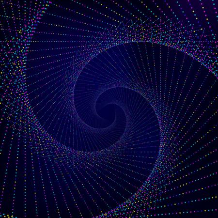 fondos azules: Fondo abstracto. Papel pintado azul oscuro con la espiral hecha de puntos coloridos luminosos. Ilustración vectorial. Vectores