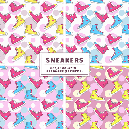 snickers: Set of seamless patterns with sneakers and circles. Colorful backgrounds with hand drawn pink, yellow and blue shoes. Vector collection.