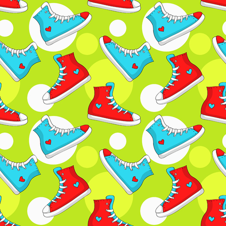 snickers: Seamless pattern with sneakers and circles. Colorful background with hand drawn red and blue shoes. Vector illustration.
