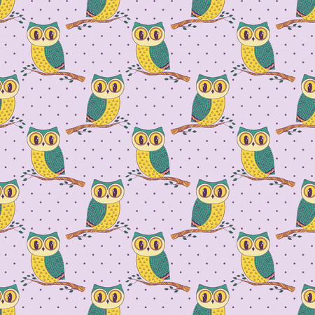 Seamless pattern with cute hand drawn owls and polka dots. Vector background.