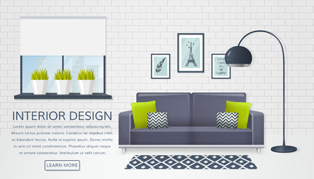 modern living room: Banner with interior of the living room and place for text. Design of a cozy room with sofa, electric lamp, window and decor accessories. Vector illustration.