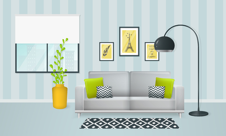 livingroom: Interior of the living room. Design of a cozy room with sofa, lamp, window and decor accessories. Vector illustration.