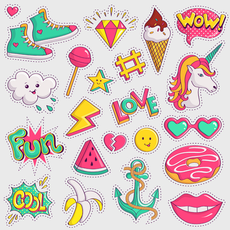 Cute and trendy patches. Colorful pink, yellow and turquoise elements on white background. Collection of retro stickers in 90s style. Vector illustration.