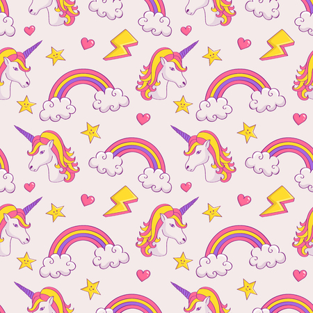 Dreamy pattern with unicorns and rainbows. Cute seamless background in pastel colors. Vector illustration.