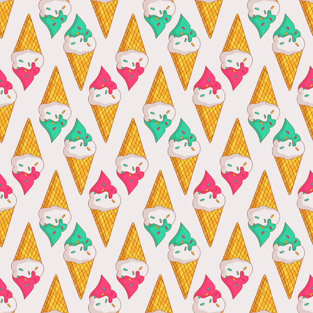 Colorful seamless pattern with ice cream in waffle cones. Summer background. Vector illustration.
