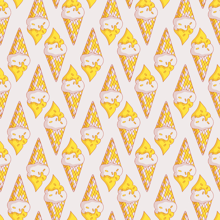 White and yellow seamless pattern with ice cream in waffle cones. Sweet background. Vector illustration.