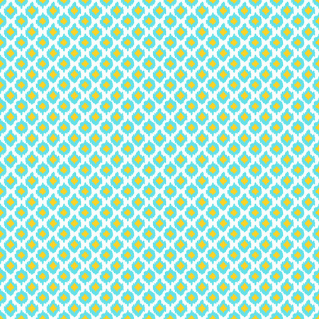 Oriental seamless pattern in white, yellow and blue colors. Ikat ogee ornament. Vector eastern background.